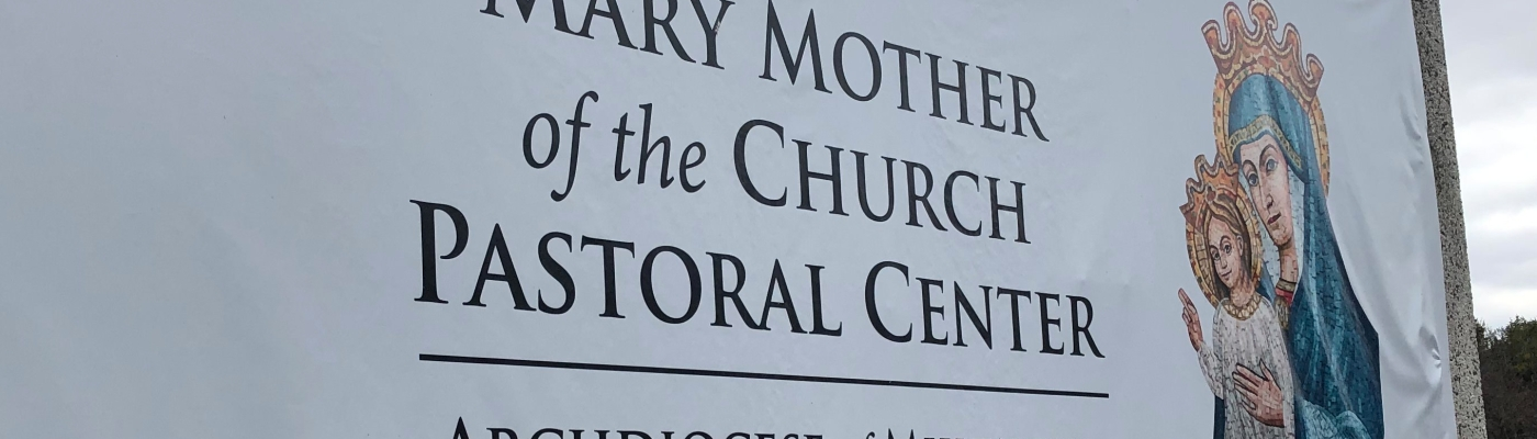 The entrance sign at Mary Mother of the Church Pastoral Center, Archdiocese of Milwaukee