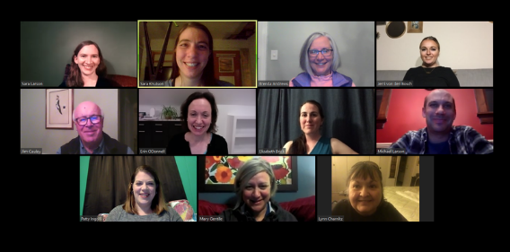 Photo of a Zoom meeting of the Awake Leadeship Team. A grid of eleven adults, with their names