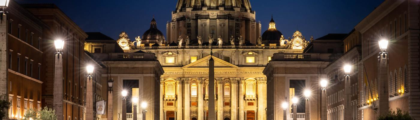 The Vatican lit up at night