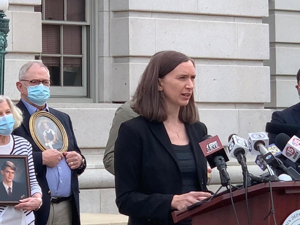 Awake Executive Director Sara Larson speaks at Attorney General Press Conference